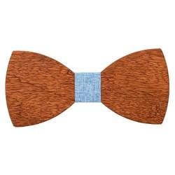 Fako Fashion® - Vlinderstrik - Vlinderdas - Hout - 12cm - Stof Lichtblauw
