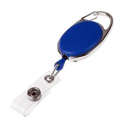 Fako Bijoux® - Uittrekbare Sleutelhanger Met Koord / Rolspeld / Yoyo / Jojo / Skipashouder - Nylon - 36x56mm - Blauw