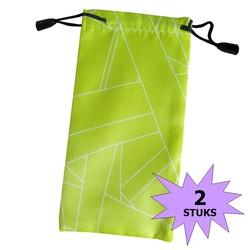 Fako Bijoux® - Microvezel Brillenhoes - Brick - 18x9cm - Groen - 2 Stuks