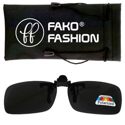 Fako Fashion® - Clip On Voorzet Zonnebril - Polarized - 128x40mm - Grijs