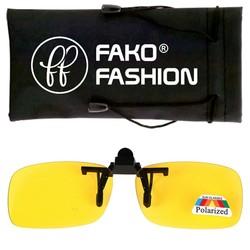 Fako Fashion® - Clip On Voorzet Zonnebril - Polarized - 128x40mm - Geel