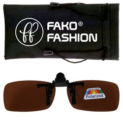 Fako Fashion® - Clip On Voorzet Zonnebril - Polarized - 128x40mm - Bruin
