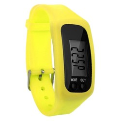 Fako® - Horloge - LCD - Stappenteller - Gesp - Geel