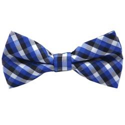 Fako Fashion® - Kinder Vlinderstrik - Vlinderdas - Geblokt - 10cm - Blauw/Wit/Zwart
