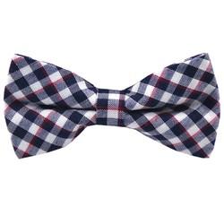 Fako Fashion® - Kinder Vlinderstrik - Vlinderdas - Geblokt - 10cm - Blauw/Rood/Wit