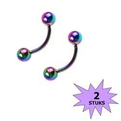 Fako Bijoux® - Wenkbrauw Piercing - 3mm - Multicolor - 2 Stuks