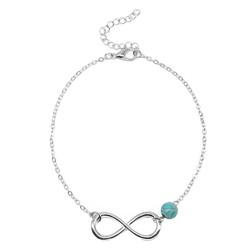 Fako Bijoux® - Enkelbandje - Infinity Turquoise - 6mm