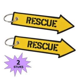 Fako Bijoux® - Sleutelhanger - Rescue - Geel - 2 Stuks