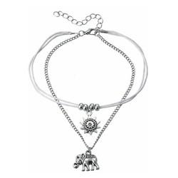Fako Bijoux® - Enkelbandje - Olifantje & Zon