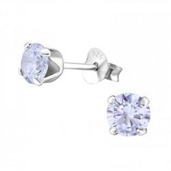 Fako Bijoux® - Oorbellen - 925 Zilver - Zirkonia - 5x5mm - Lila Paars
