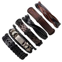 Fako Bijoux® - Armband - Leder - Set Deluxe - 6 Stuks - Zwart/Bruin
