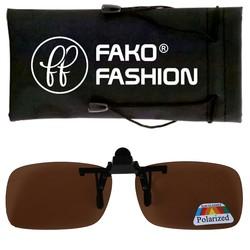 Fako Fashion® - Clip On Voorzet Zonnebril - Polarized - 134x40mm - Bruin