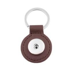 Fako Bijoux® - Sleutelhanger Voor Click Buttons - Leder Rond Bruin