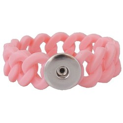 Fako Bijoux® - Armband - Click Buttons - Siliconen Breed - Roze
