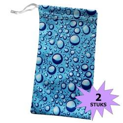 Fako Bijoux® - Microvezel Brillenhoes - Druppels - 18x9cm - Blauw - 2 Stuks