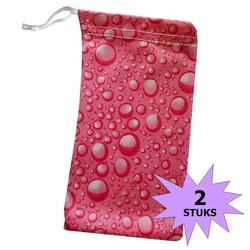Fako Bijoux® - Microvezel Brillenhoes - Druppels - 18x9cm - Roze - 2 Stuks