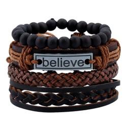 Fako Bijoux® - Armband - Leder - Set Believe - Bruin/Zwart