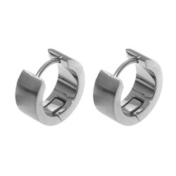 Fako Bijoux® - Oorringen - Stainless Steel - Breed - Zilverkleurig