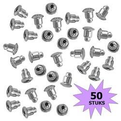 Fako Bijoux® - Oorbel Stoppers / Achterkantjes - Metaal - Rond - 5mm - Zilverkleurig - 50 Stuks