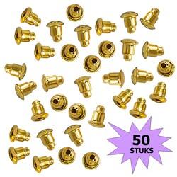 Fako Bijoux® - Oorbel Stoppers / Achterkantjes - Metaal - Rond - 5mm - Goudkleurig - 50 Stuks
