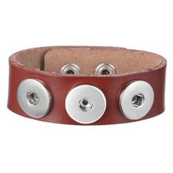 Fako Bijoux® - Armband Voor Click Buttons - Leder Trio - Bruin