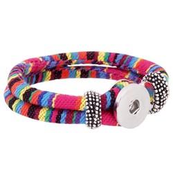 Fako Bijoux® - Armband Voor Click Buttons - Inka - Regenboog Fuchsia