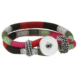 Fako Bijoux® - Armband Voor Click Buttons - Inka - Groen/Rood