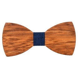 Fako Fashion® - Vlinderstrik - Vlinderdas - Hout - 12cm - Stof Blauw
