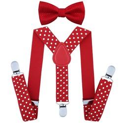 Fako Fashion® - Kinder Bretels Met Vlinderstrik - Stippen - 65cm - Rood