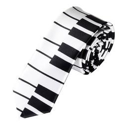 Fako Fashion® - Skinny Stropdas - Print - 145cm - Piano Wit