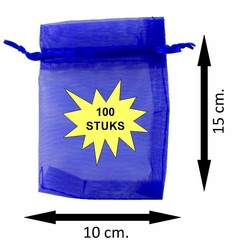 Fako Bijoux® - Organza Zakjes - 10x15cm - Royal Blauw - 100 Stuks
