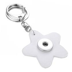 Fako Bijoux® - Sleutelhanger Voor Click Buttons - Bloem Wit