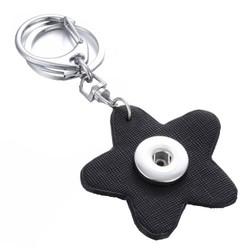 Fako Bijoux® - Sleutelhanger Voor Click Buttons - Bloem Zwart