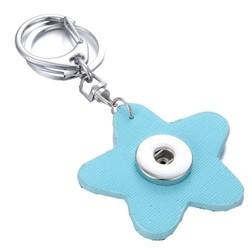 Fako Bijoux® - Sleutelhanger Voor Click Buttons - Bloem Lichtblauw