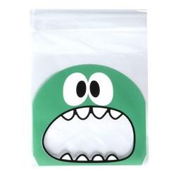 Fako Bijoux® - 100x Uitdeelzakjes - Cellofaan Plastic Traktatie Kado Zakjes - Snoepzakjes - Monster - 10x10cm - Groen