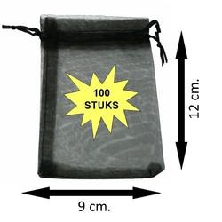 Fako Bijoux® - Organza Zakjes - 9x12cm - Zwart - 100 Stuks