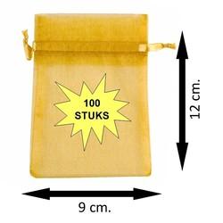 Fako Bijoux® - Organza Zakjes - 9x12cm - Goudkleurig - 100 Stuks
