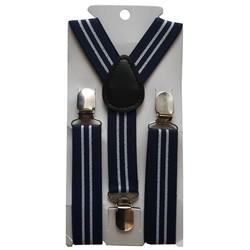 Fako Fashion® - Kinder Bretels - Print - Streep - 65cm - Navy Blauw/Wit