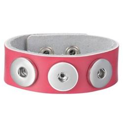 Fako Bijoux® - Armband Voor Click Buttons - Leder Trio - Fuchsia