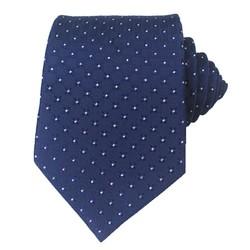 Fako Fashion® - Luxe Stropdas - 145cm - 8cm - Navy Blauw Geblokt Stip