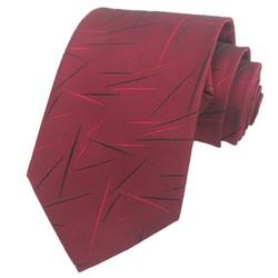 Fako Fashion® - Luxe Stropdas - 145cm - 8cm - Bordeaux Rood Streepjes
