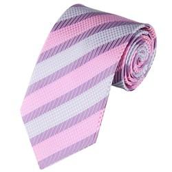 Fako Fashion® - Luxe Stropdas - 145cm - 8cm - Paars/Roze/Grijs Gestreept