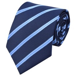 Fako Fashion® - Luxe Stropdas - 145cm - 8cm - Donkerblauw/Lichtblauw Gestreept