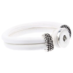 Fako Bijoux® - Armband Voor Click Buttons - Rond -Wit