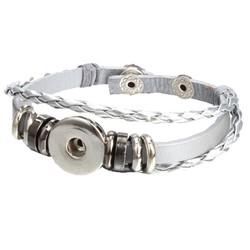 Fako Bijoux® - Armband Voor Click Buttons - Leder Ring - Zilverkleurig