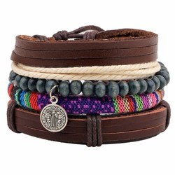 Fako Bijoux® - Armband - Leder - Set Vintage - Boho Munt