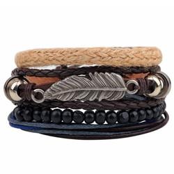 Fako Bijoux® - Armband - Leder - Set Vintage - Veer Touw