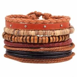 Fako Bijoux® - Armband - Leder - Set Vintage - Bullet