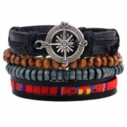 Fako Bijoux® - Armband - Leder - Set Vintage - Kompas