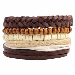 Fako Bijoux® - Armband - Leder - Set Vintage - Vlecht